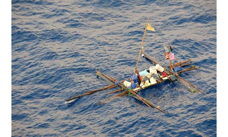 The fishermen cobbled together a makeshift raft after a marlin sank their boat