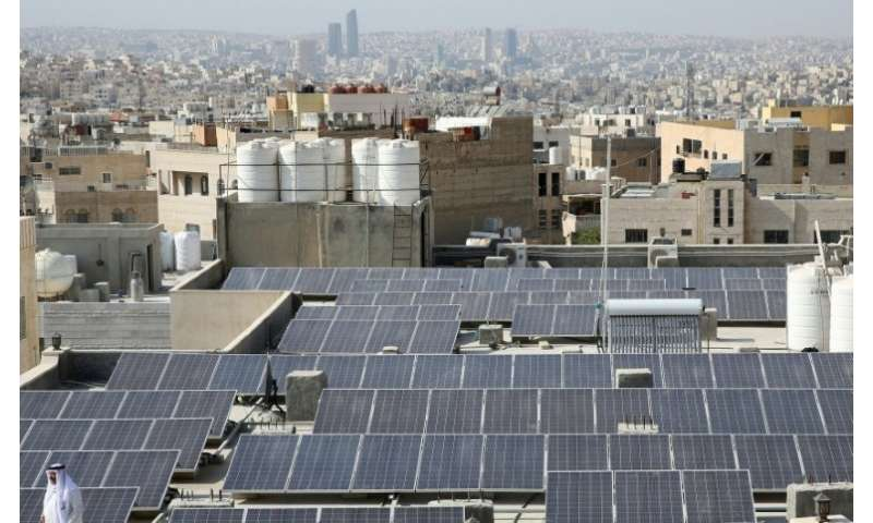 The Hamdan al-Qara mosque in southern Amman has 140 solar panels on its roof
