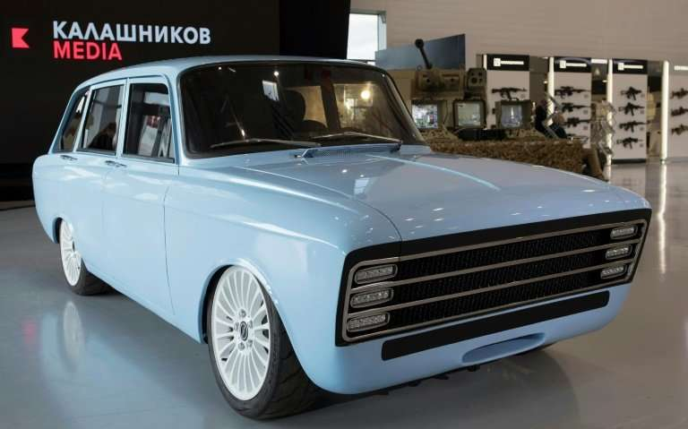 The prototype electric car, called the CV-1, produced by Russian arms maker Kalashnikov, which is seeking to diversify
