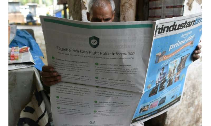 "The slick adverts in leading English and Hindi language newspapers, entitled ""together we can fight false information"""