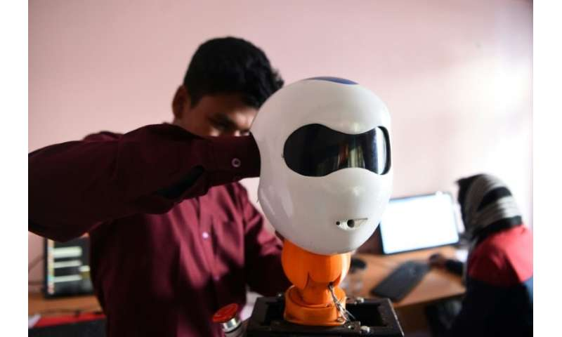 The team of 25 young engineers worked for months to build the robot, welding and moulding the prototype by hand in their tiny th
