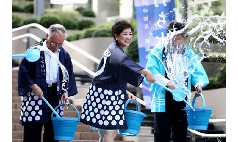 The Tokyo government has encouraged the traditional Uchimizu ceremony, where water is splashed on the ground, as part of its sum