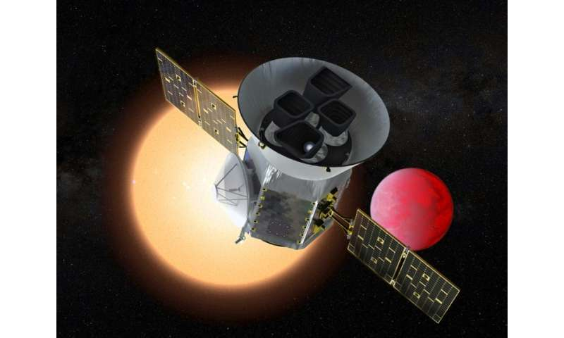 This NASA handout artist's rendition shows the Transiting Exoplanet Survey Satellite (TESS), a NASA Explorer mission launching i
