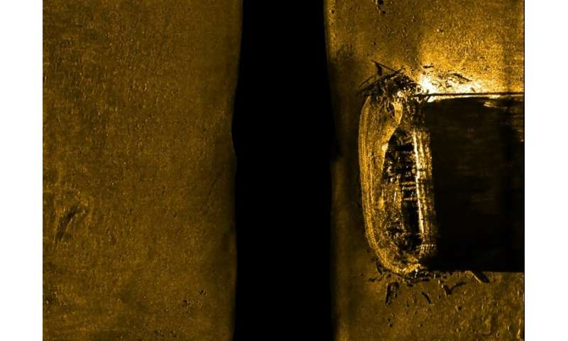 This Parcs Canada handout picture shows a sonar scan of 19th century British Arctic explorer Sir John Franklin's lost ship, HMS