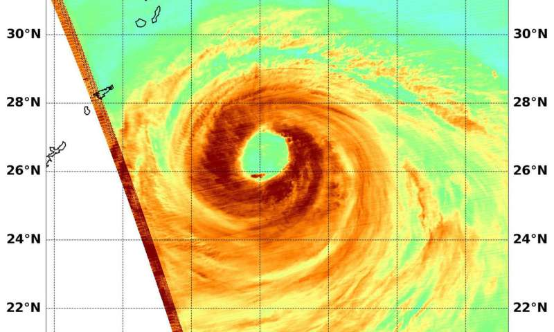 Typhoon Soulik's large eye wide open on NASA satellite imagery