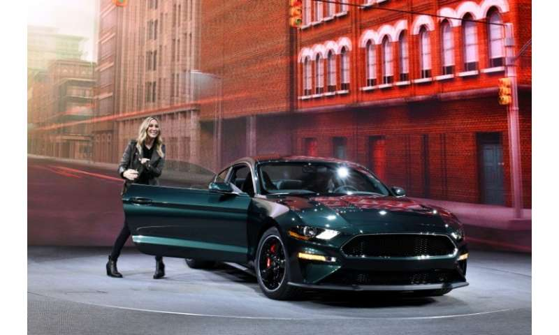US actress Molly McQueen presents the 2019 Ford Mustang Bullitt, inspired by the car driven by her grandfather Steve McQueen in