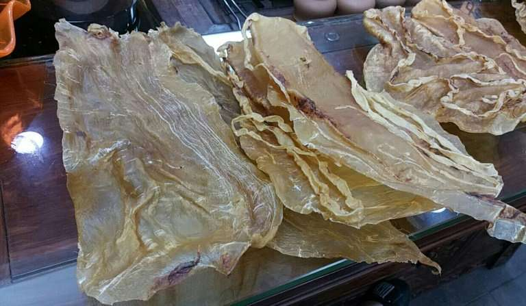 View of dried swim bladders of totoaba fish, which despite an international ban on trade could still be found for sale in Guangz