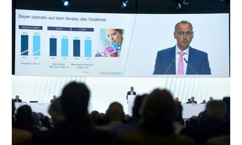 Werner Baumann, chairman of German pharmaceutical and chemicals giant Bayer tells the company's annual general meeting that the