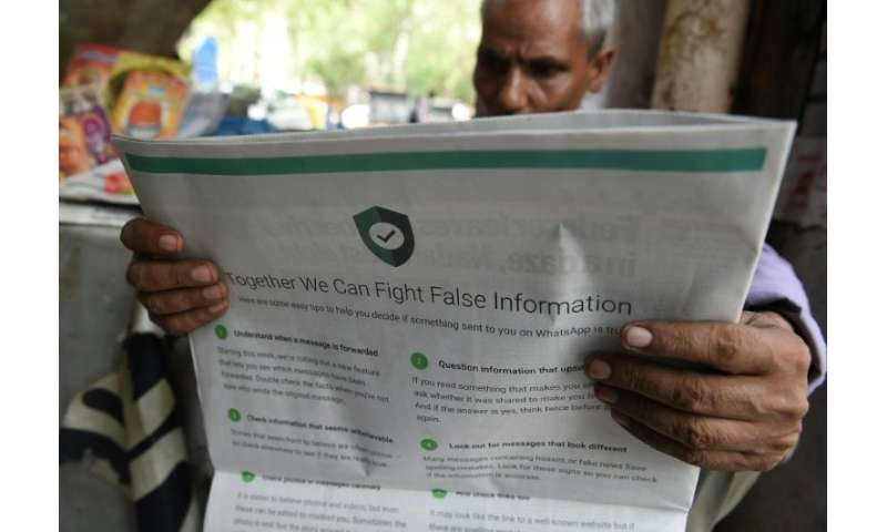WhatsApp bought full-page adverts in Indian newspapers with tips on how to spot misinformation