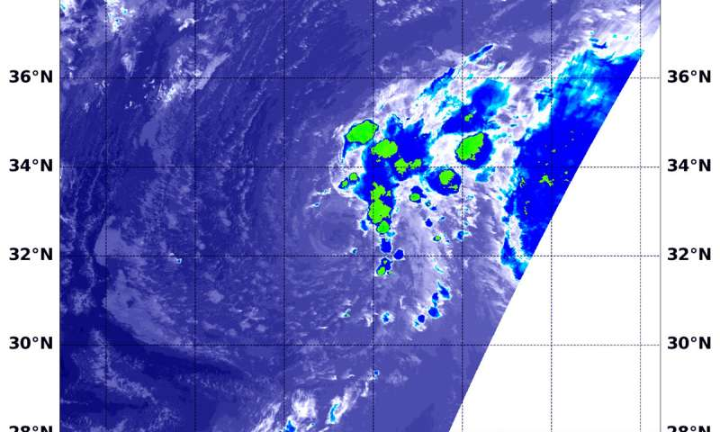 Wind shear affecting Tropical Storm Joyce in NASA-NOAA satellite image