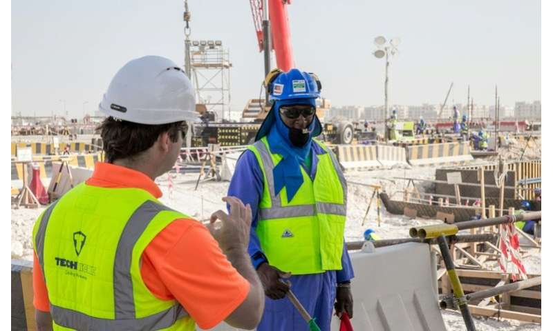 "World Cup stadium workers wear ""cooling vests"" in the Qatari capital Doha"