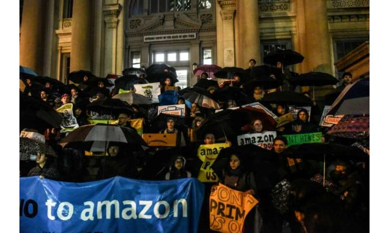 Amazon dropped its plans for a new headquarters in New York City following a series of protests including this one on November 2