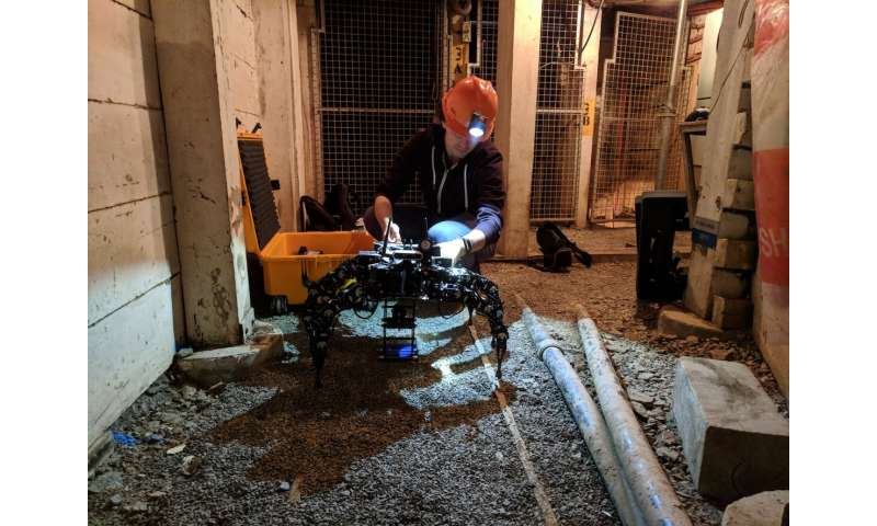 A model for posture adaptation of legged robots while navigating confined spaces