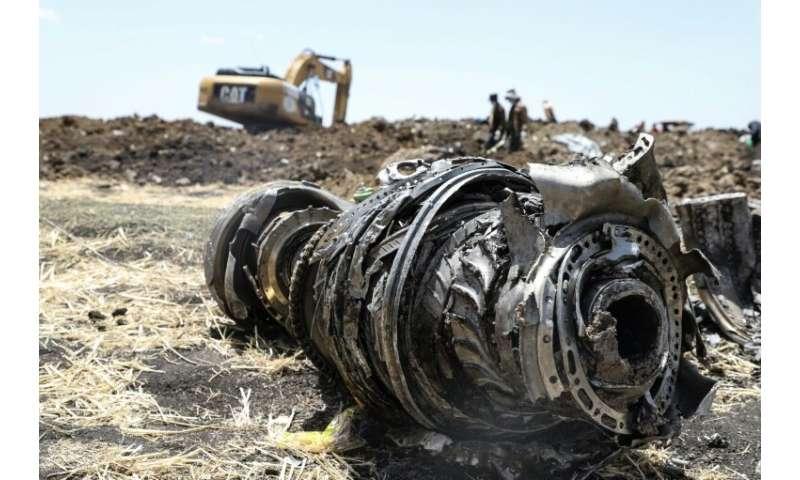 Debris of a Boeing 737 MAX 8 plane strewn over a crash site outside Addis Ababa
