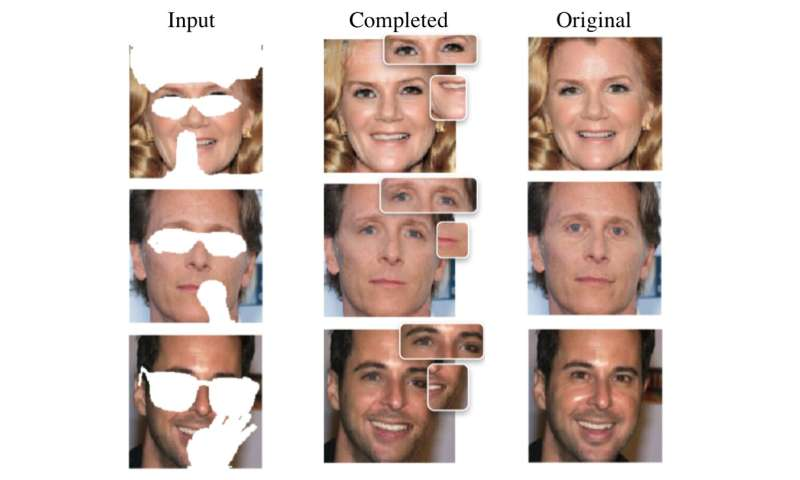 Enhancing face recognition tools with generative face completion