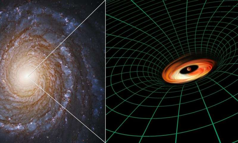 "A Hubble Space Telescope image of the spiral galaxy NGC 3147 appears next to an artist's illustration of the supermassive black hole residing at the galaxy's core. Credit: Hubble Image: NASA, ESA, S. Bianchi (Università degli Studi Roma Tre University), A. Laor (Technion-Israel Institute of Technology), and M. Chiaberge (ESA, STScI, and JHU); Illustration: NASA, ESA, and A. Feild and L. Hustak (STScI)             </figcaption></figure> </div> </div> <p> ""This is an intriguing peek at a disc very close to a black hole, so close that the velocities and the intensity of the gravitational pull affect how we see the photons of light,"" explained the first author of the study, Stefano Bianchi , of the Università degli Studi Roma Tre in Italy. </p> <p> In order to study the subject matter deep inside this disc, researchers used the Hubble Space Telescope Imaging Spectrograph (STIS) instrument. This diagnostic tool divides the light from an object into its many individual wavelengths to determine the object's speed, temperature, and other characteristics at very high precision. STIS was integral to effectively observing the low-luminosity region around the black hole, blocking the galaxy's brilliant light. </p> <p> The astronomers initially selected this galaxy to validate accepted models about low-luminosity active galaxies: those with malnourished black holes. These models predict that discs of material should form when large amounts of gas are trapped by a heavy gravity pull of a black hole, subsequently emitting lots of light and producing a brilliant beacon called a quasar </p><div><script async src="