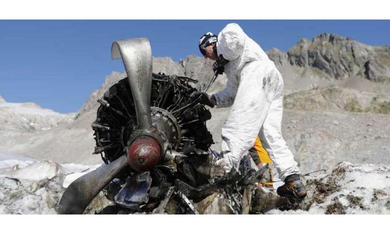 **Ice-encased U.S. Air Force plane wreckage provides data for glacier ice flow