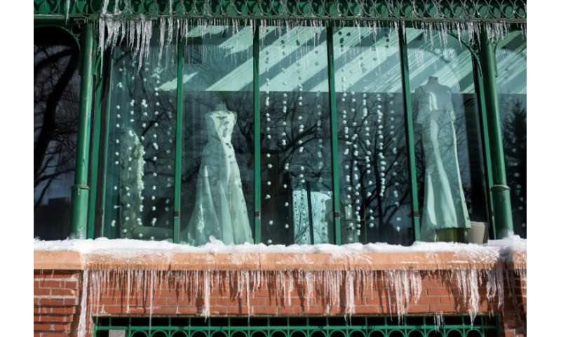 Icicles outside a bridal shop in Minneapolis, Minnesota