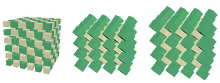 Nanoscale sculpturing leads to unusual packing of nanocubes