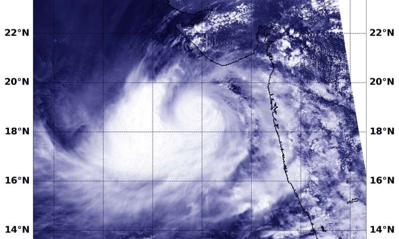 NASA reveals Tropical Cyclone Vayu's compact center