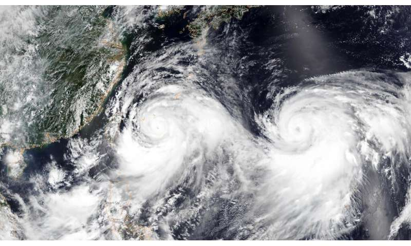 This satellite image shows Typhoon Lekima approaching southeastern China