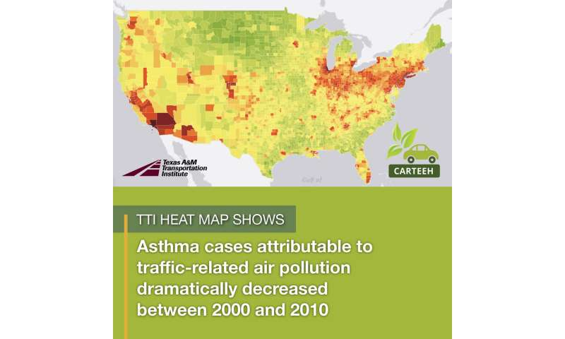 TTI heat map shows relationship between traffic-related air pollution and childhood asthma