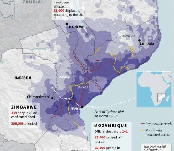 Updated graphic showing the flooding situation in Mozambique, Zimbabwe and Malawi