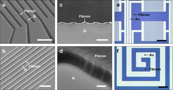 Wafer-scale multilayer fabrication of silk fibroin-based microelectronics