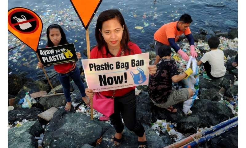 Environmental activists calling for a ban of the use of plastic bags in Manila