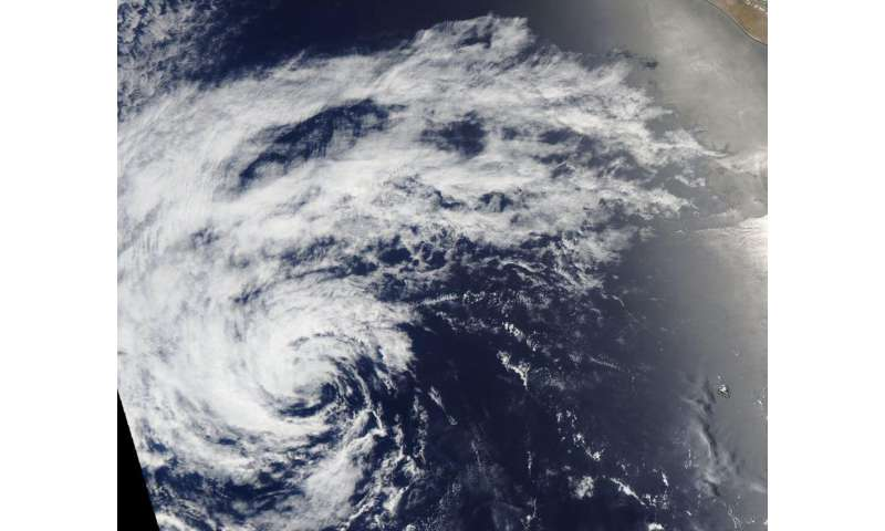 NASA's aqua satellite documents the brief life of tropical depression 4E