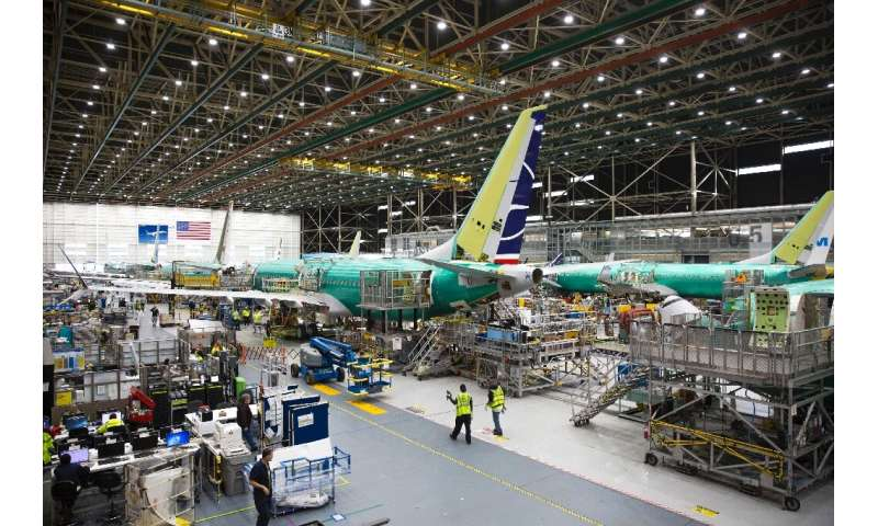 Boeing employees in March 2019 build a 737 MAX in Washington State