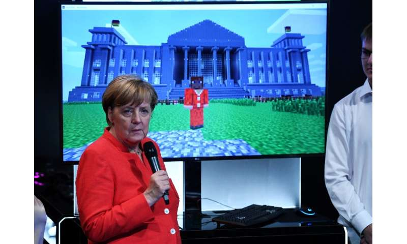 German Chancellor Angela Merkel at a Minecraft presentation in Cologne in August 2017