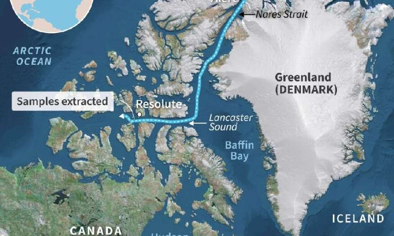 Map showing the likely path of a drifting Arctic sea ice block in which samples extracted by scientists showed microplastic cont