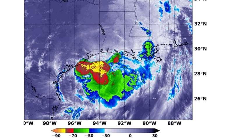 NASA examines Tropical Storm Barry post-landfall