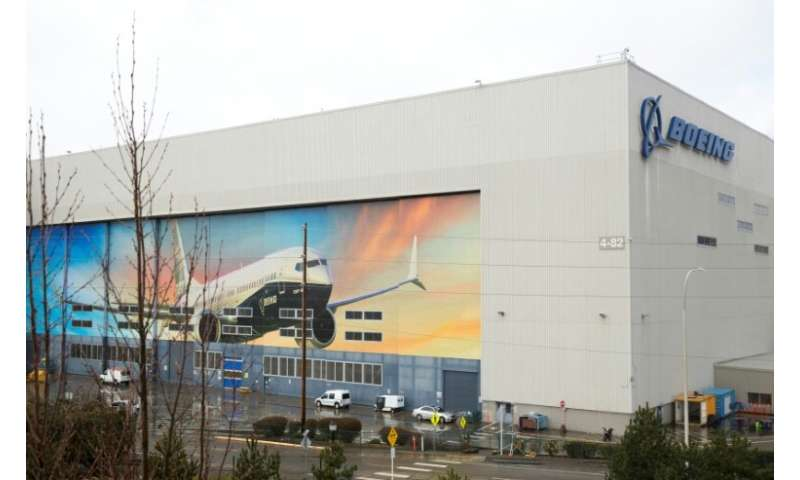 A Boeing 737 MAX 8 is pictured on the exterior of the Boeing Renton Factory in Renton, Washington, as the image of the manufactu