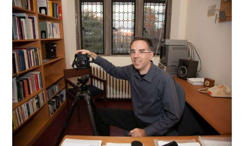 Art professor Andrew Tallon at his office at Vassar College in Poughkeepsie, New York in November 2009