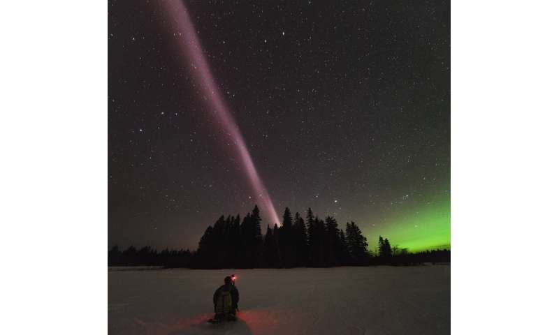 "Scientists discover what powers celestial phenomenon STEVE [19659009] Alberta Aurora Chasers capture STEVE, the new-to-science upper atmospheric phenomenon, on the evening of April 10, 2018 in Prince George, British Columbia, Canada. Fellow Aurora Chaser Robert Downie kneels in the foreground while photographer Ryan Sault captures the narrow ribbon or white-purple hues overhead. Credit: Ryan Sault.             </figcaption></figure> </div> </div> <p> ""Aurora is defined by particle precipitation, electrons and protons actually falling into our atmosphere, while the STEVE atmospheric glow comes from heating without particle precipitation,"" said Bea Gallardo-Lacourt, a space physicist at the University of Calgary and Co. author of the new study. ""The precipitating electrons that cause the green picket are thus aurora, though this occurs outside the auroral zone, so it's indeed unique."" [Images] STEVE are beautiful in themselves, but they also provide a visible way to study the invisible. , complex charged particle flows in Earth's magnetosphere, according to the study's authors. The new results help scientists better understand how particle flows develop in the ionosphere, which is important goal because such disturbances can interfere with radio communications and affect GPS signals. </p> <p> <b> Where does STEVE come from? </b> </p> <p> In the new study, researchers wanted to find out what powers STEVE and if it occurs in both the Northern and Southern Hemispheres at the same time. They analyzed data from several satellites passing overhead during STEVE events in April 2008 and May 2016 to measure the electric and magnetic fields in Earth's magnetosphere at the time. </p><div><script async src="