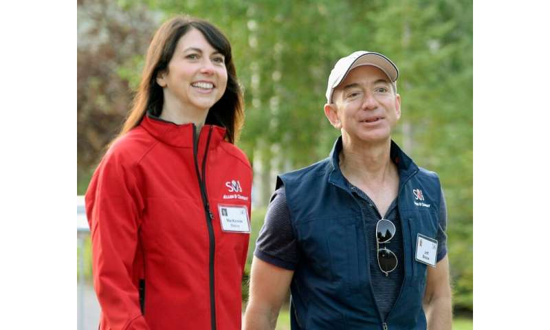 Amazon founder Jeff Bezos (R) and his wife, MacKenzie Bezos, have finalized their divorce