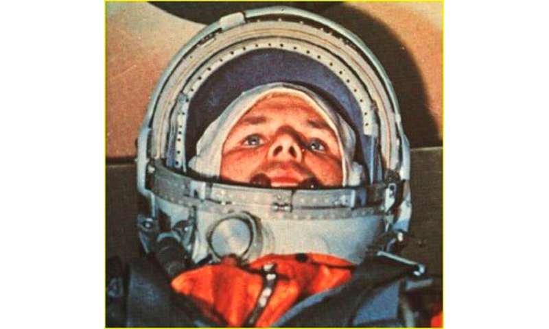 Russian cosmonaut Yuri Gagarin, the first man in space, in his Vostok 1 capsule on April 12, 1961