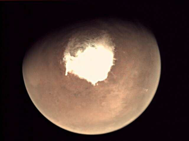 This handout picture released on October 16, 2016 by the European Space Agency (ESA) shows planet Mars as seen by the webcam on