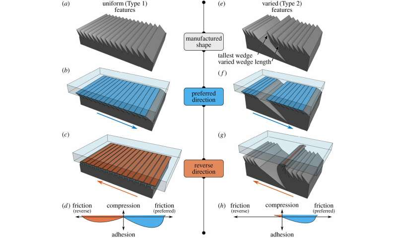 **Microstructured material with spatial variation has friction in only one direction