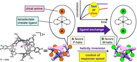 Chirality inversion in a helical molecule at controlled speeds
