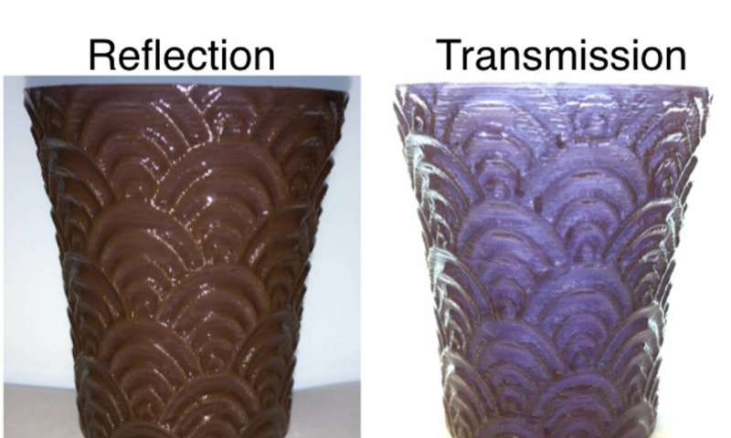 3-D printed nanomaterial shows different transparencies and colours