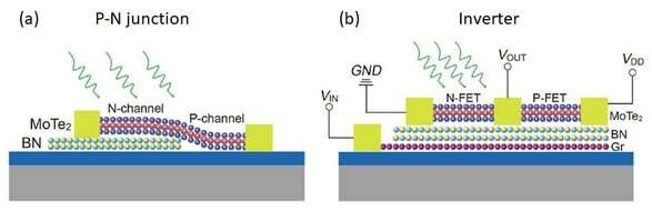 Photodoping in 2-D materials for fabrication of logic devices