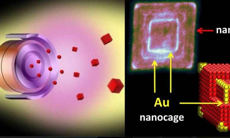 Gold for iron nanocubes
