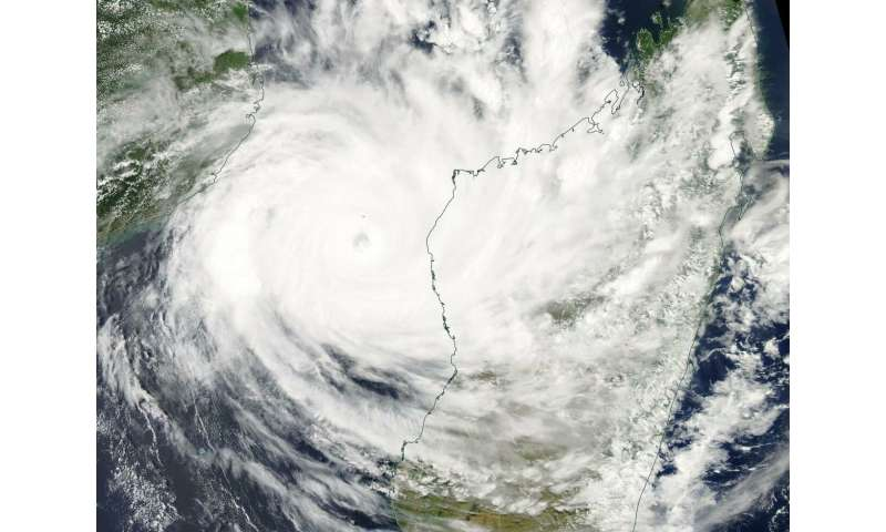 NASA's Aqua Satellite finds Tropical Cyclone Idai in Mozambique Channel