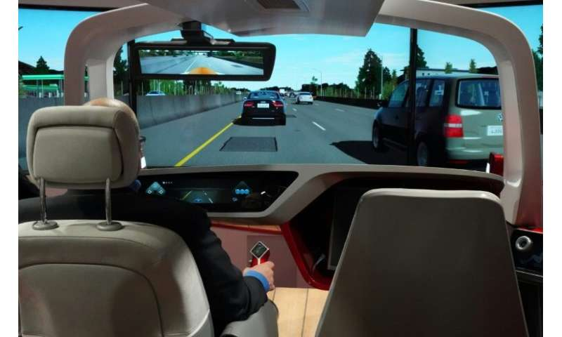 A autonomous car simulator from BCS Automotive Interface Solutions was one of the high-tech items on display at the Detroit auto