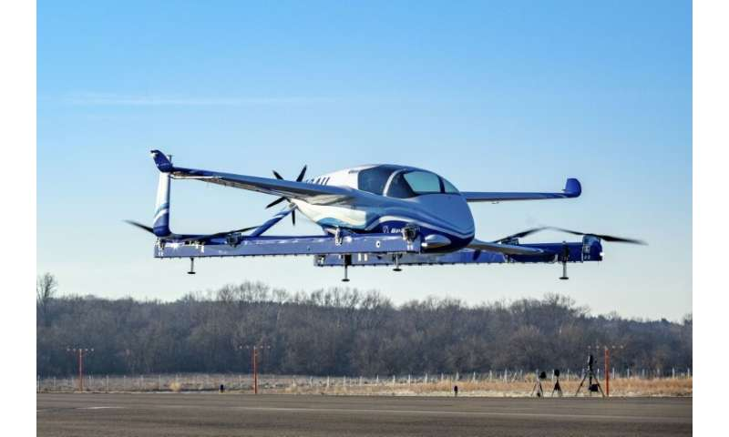 "A Boeing photo shows a prototype ""flying car""—part of a project aimed at ""on-demand autonomous air transportation"