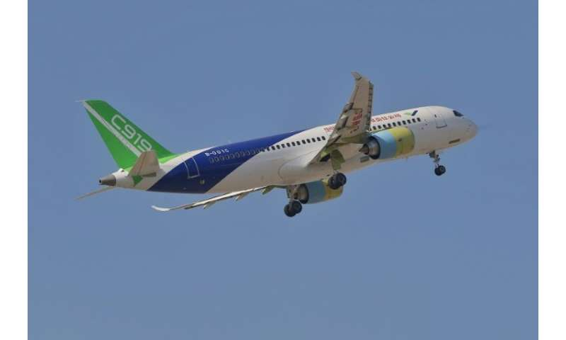 A Chinese-made Comac C919 passenger jet takes off from Pudong International Airport in Shanghai. Until China's domestic aircraft