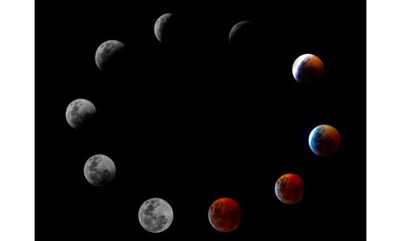 A composite photo shows all the phases of the so-called Super Blood Wolf Moon total lunar eclipse